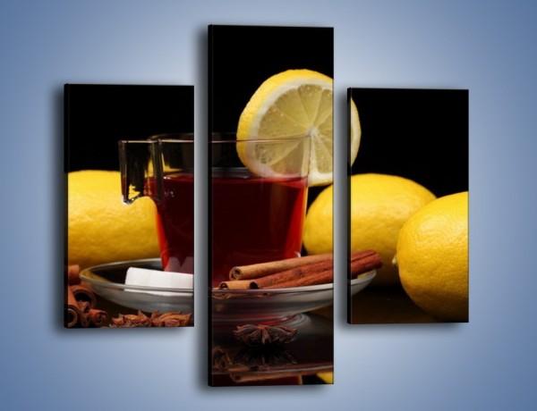 Obraz na płótnie – Mocna herbatka z cytryną – trzyczęściowy JN284W3