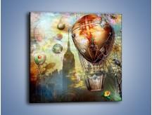 Obraz na płótnie – Balonem przez miasto – jednoczęściowy kwadratowy GR451