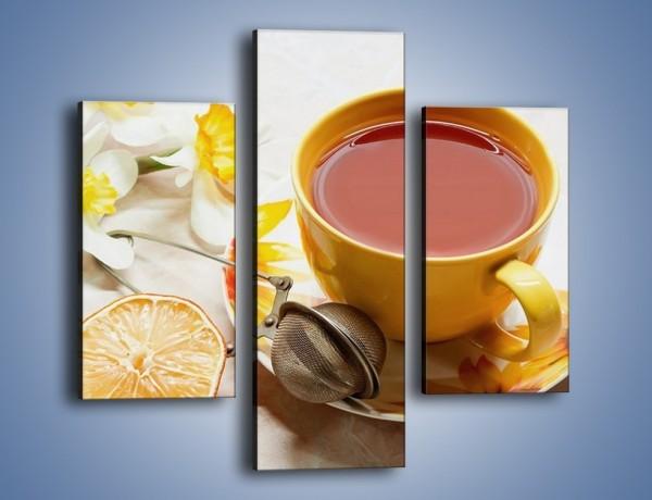 Obraz na płótnie – Herbata wśród żonkili – trzyczęściowy JN288W3