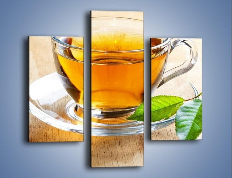 Obraz na płótnie – Listek mięty dla orzeźwienia herbaty – trzyczęściowy JN290W3