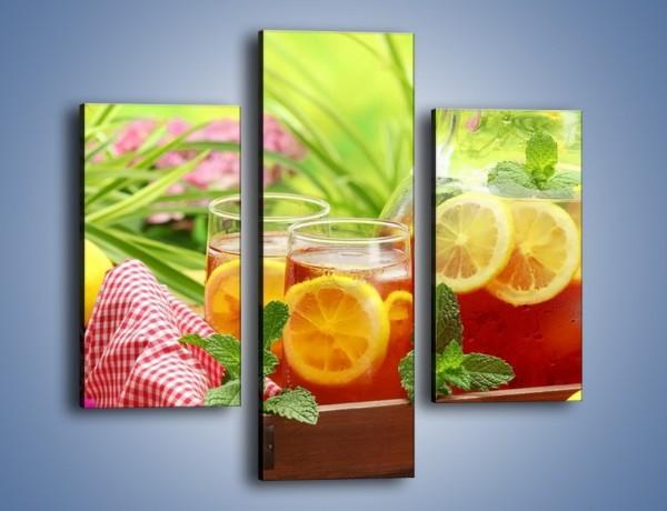 Obraz na płótnie – Mrożona herbata wśród kwiatów – trzyczęściowy JN292W3