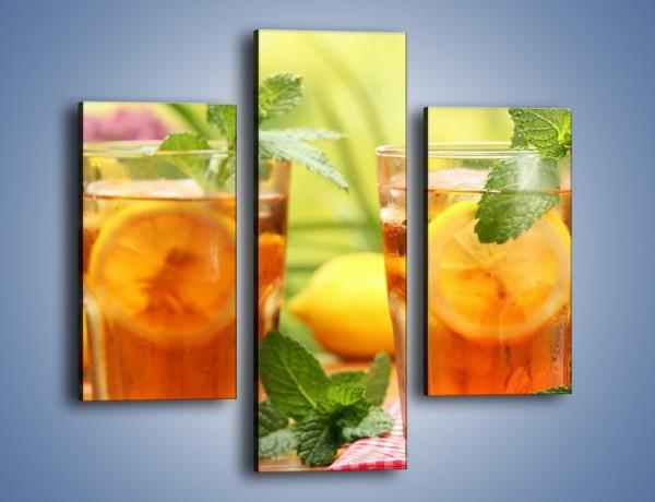 Obraz na płótnie – Herbaciany łyk ochłody – trzyczęściowy JN293W3