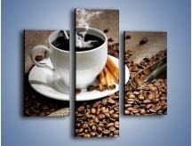 Obraz na płótnie – Czarna palona kawa – trzyczęściowy JN311W3