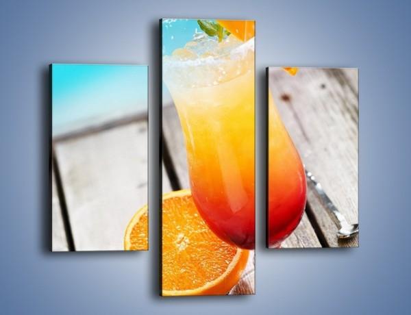 Obraz na płótnie – Pomarańczowy drink przy basenie – trzyczęściowy JN322W3