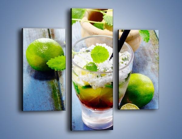 Obraz na płótnie – Limonkowy drink z miętą – trzyczęściowy JN325W3