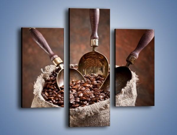 Obraz na płótnie – Wór pełen ziaren kawy – trzyczęściowy JN344W3