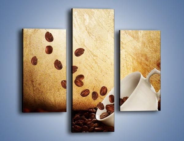 Obraz na płótnie – Rozsypane ziarna kawy – trzyczęściowy JN346W3