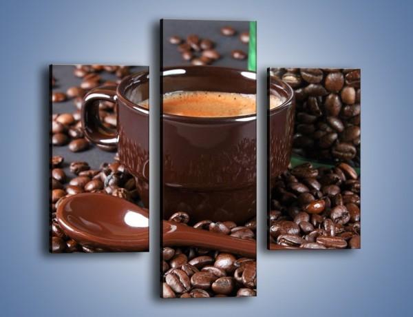 Obraz na płótnie – Kawa w ciemnej filiżance – trzyczęściowy JN348W3