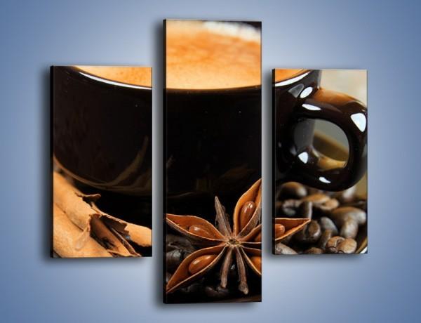 Obraz na płótnie – Spieniona kawa z goździkami – trzyczęściowy JN350W3