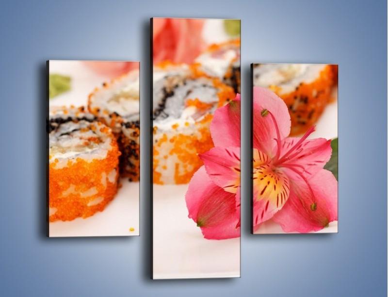 Obraz na płótnie – Sushi z kwiatem – trzyczęściowy JN354W3