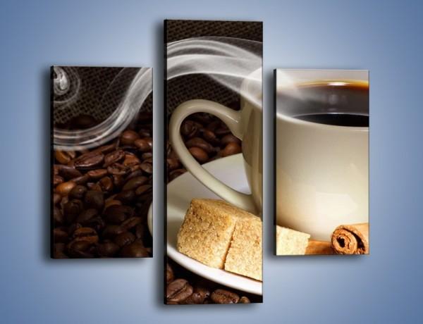 Obraz na płótnie – Kawa z kostkami cukru – trzyczęściowy JN364W3