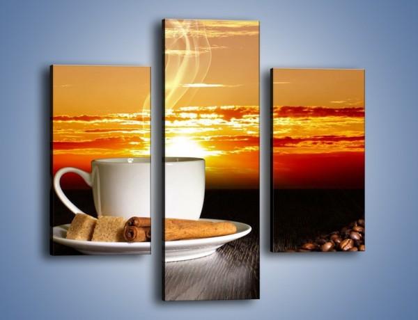 Obraz na płótnie – Kawa przy zachodzie słońca – trzyczęściowy JN366W3