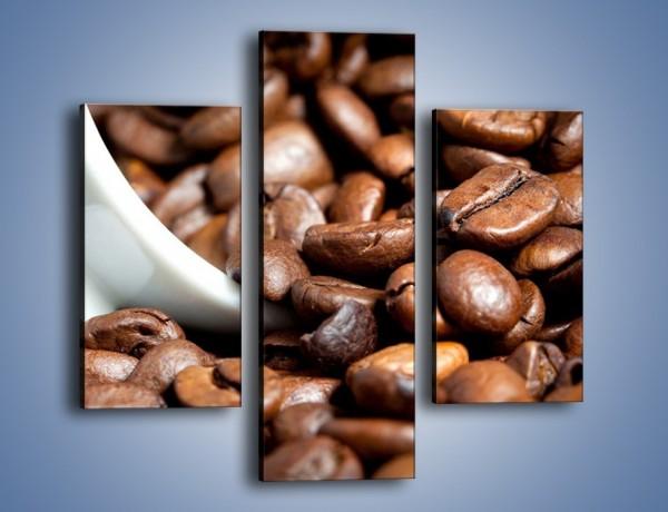 Obraz na płótnie – Ziarna kawy w kubku – trzyczęściowy JN367W3