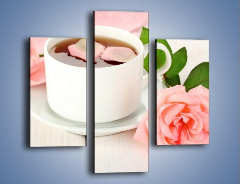 Obraz na płótnie – Herbata wśród róż – trzyczęściowy JN369W3