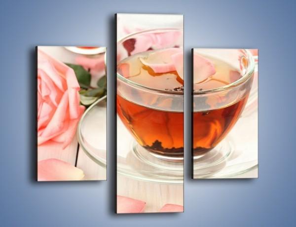 Obraz na płótnie – Herbata z płatkami róż – trzyczęściowy JN370W3