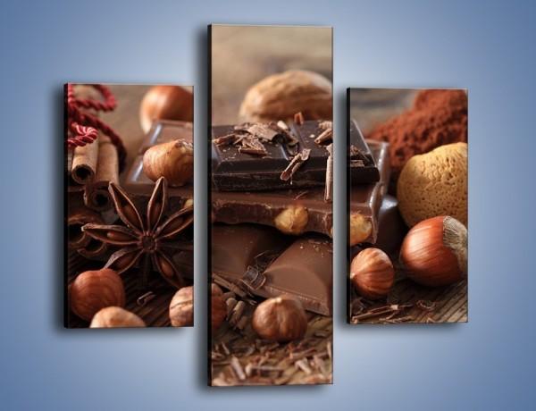 Obraz na płótnie – Orzechowo-czekoladowe uniesienie – trzyczęściowy JN376W3