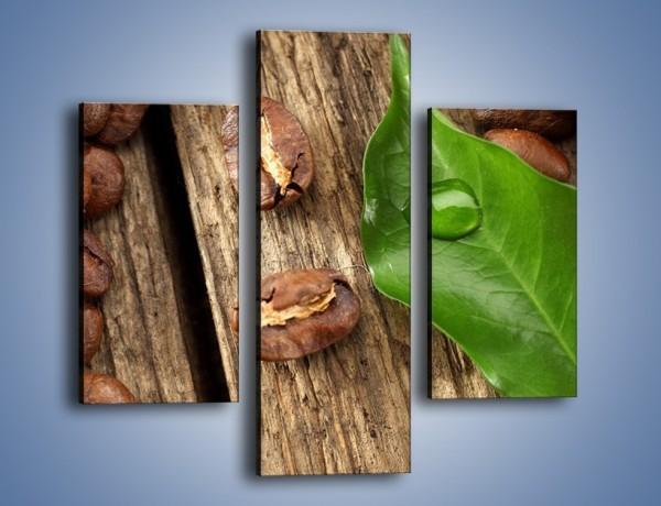 Obraz na płótnie – Ziarna kawy obok liścia – trzyczęściowy JN382W3