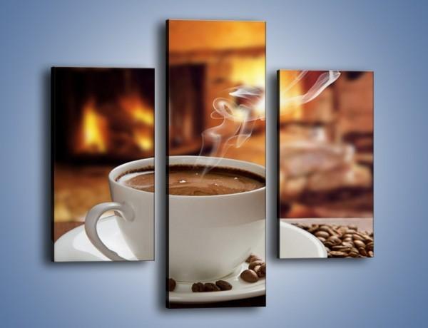 Obraz na płótnie – Kawa przy kominku – trzyczęściowy JN385W3