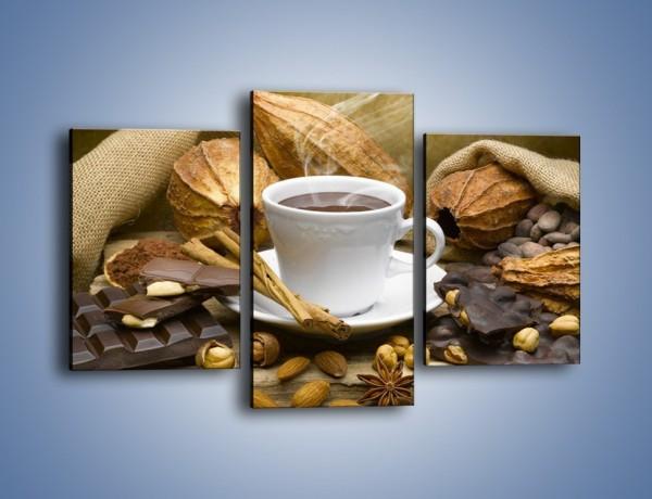 Obraz na płótnie – Kawa z orzechami i czekolada – trzyczęściowy JN387W3