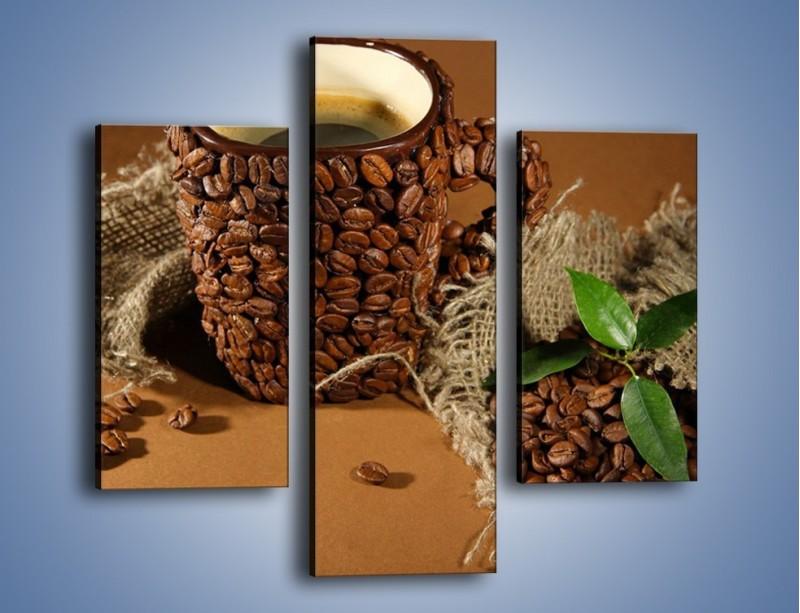 Obraz na płótnie – Kubek z ziarnami kawy – trzyczęściowy JN388W3