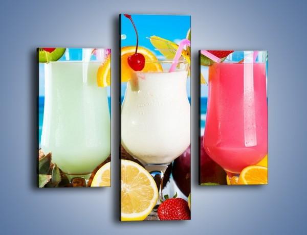Obraz na płótnie – Mleczno-truskawkowe drinki – trzyczęściowy JN393W3