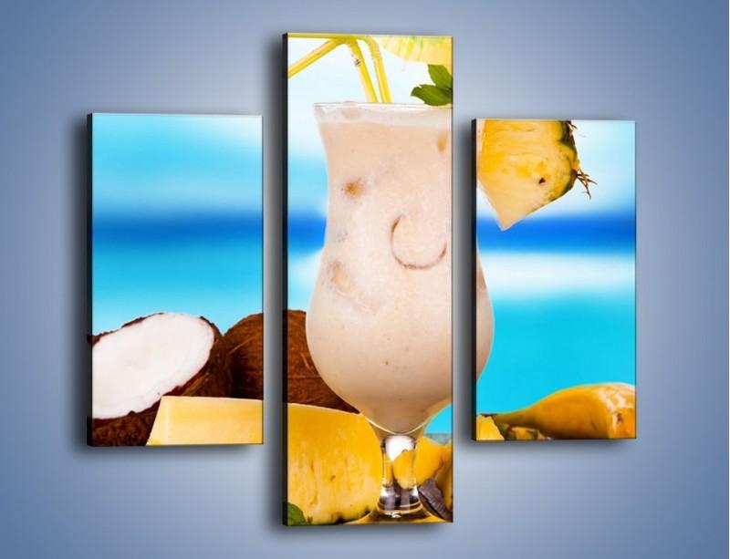 Obraz na płótnie – Kokosowy drink z ananasem – trzyczęściowy JN394W3