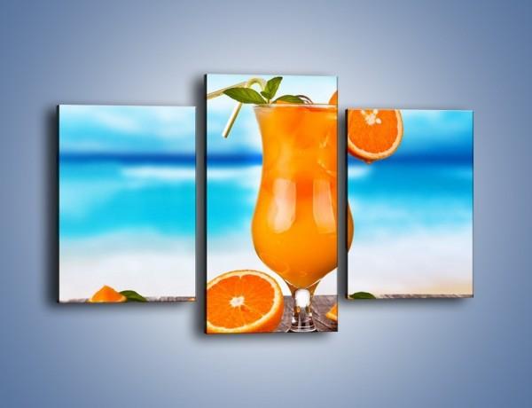 Obraz na płótnie – Pomarańczowy drink z miętą – trzyczęściowy JN395W3
