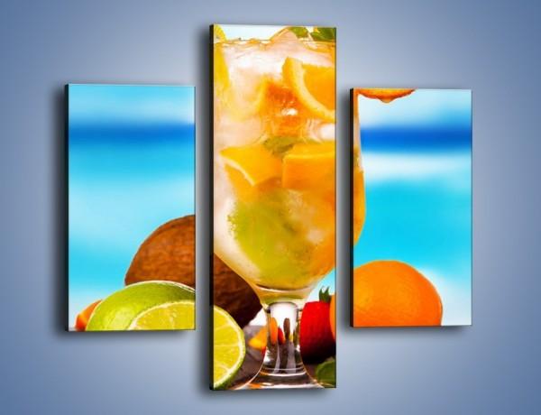Obraz na płótnie – Pomarańczowo-limonkowy drink – trzyczęściowy JN396W3