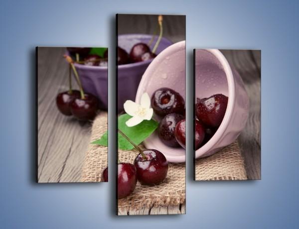 Obraz na płótnie – Wiśnie w małych pucharkach – trzyczęściowy JN399W3