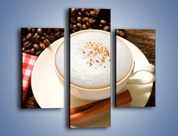 Obraz na płótnie – Spieniona kawa z rogalem – trzyczęściowy JN401W3