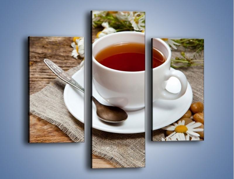 Obraz na płótnie – Herbata wśród stokrotek – trzyczęściowy JN413W3