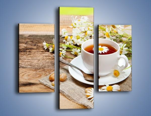 Obraz na płótnie – Filiżanka herbaty na tarasie – trzyczęściowy JN414W3