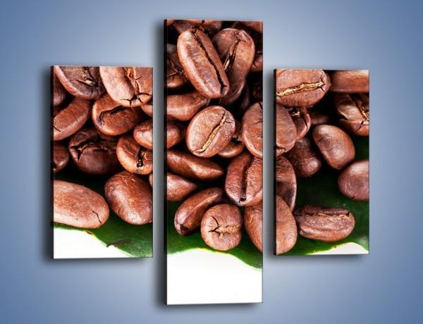 Obraz na płótnie – Ziarna kawy na liściu – trzyczęściowy JN419W3