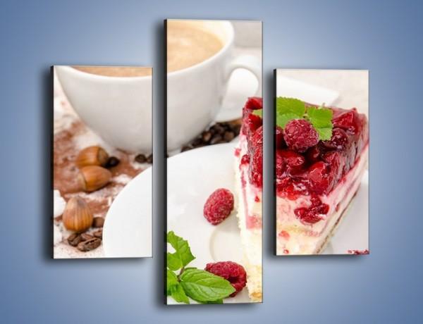 Obraz na płótnie – Owocowy sernik do kawy – trzyczęściowy JN425W3