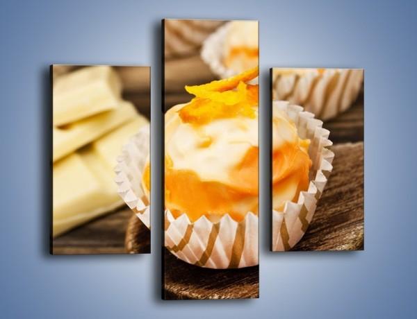 Obraz na płótnie – Babeczka z białej czekolady – trzyczęściowy JN428W3