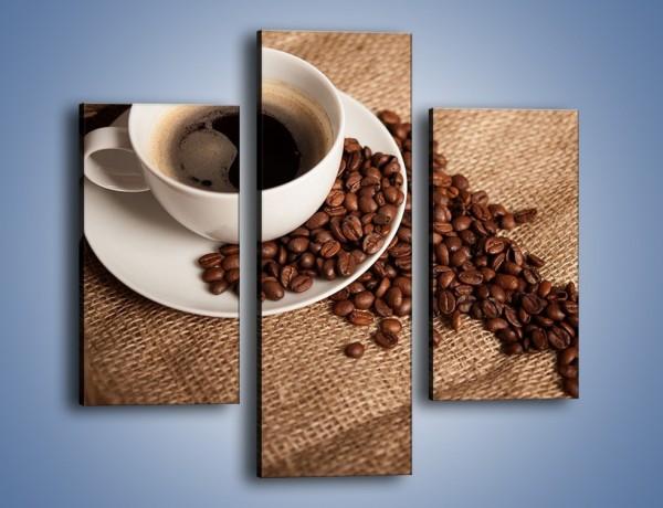 Obraz na płótnie – Kawa na białym spodku – trzyczęściowy JN430W3