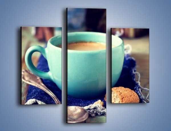 Obraz na płótnie – Kawa w błękitnej filiżance – trzyczęściowy JN434W3