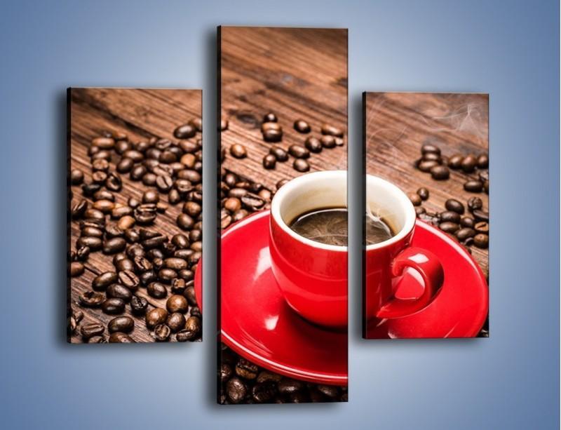 Obraz na płótnie – Kawa w czerwonej filiżance – trzyczęściowy JN441W3