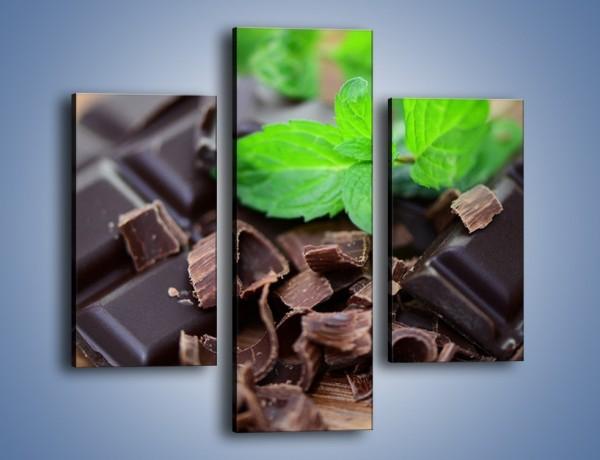 Obraz na płótnie – Połamana czekolada z miętą – trzyczęściowy JN442W3