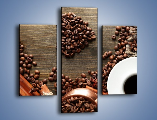 Obraz na płótnie – Serce biel i kawa – trzyczęściowy JN447W3