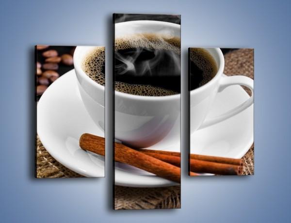 Obraz na płótnie – Kawa z cynamonową laską – trzyczęściowy JN456W3