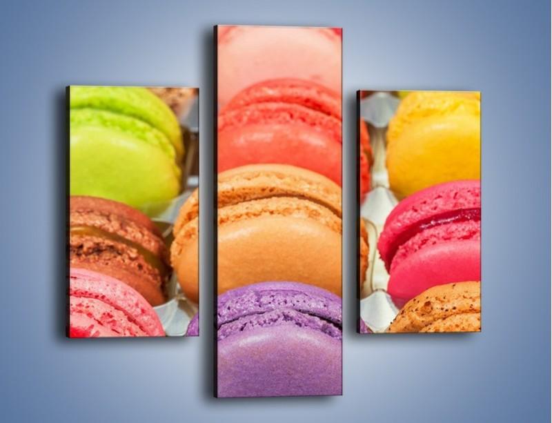 Obraz na płótnie – Słodkie babeczki w kolorach tęczy – trzyczęściowy JN458W3