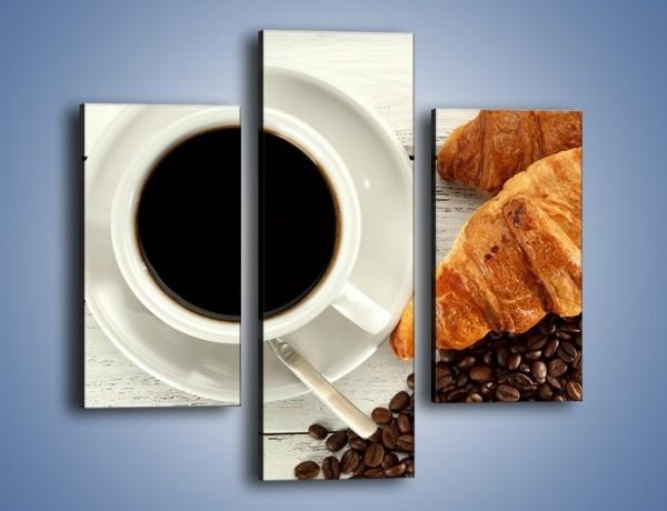 Obraz na płótnie – Kawa na białym stole – trzyczęściowy JN462W3
