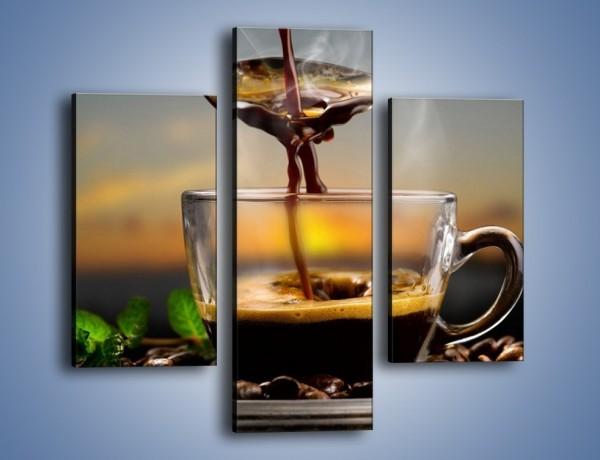 Obraz na płótnie – Łyżeczka gorącej kawy – trzyczęściowy JN467W3
