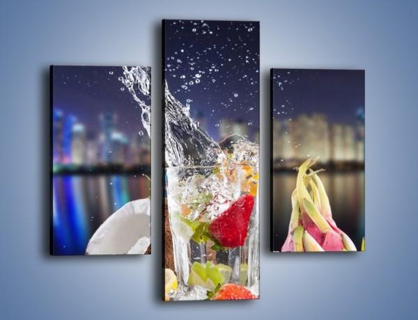 Obraz na płótnie – Tańczące owoce w szklance – trzyczęściowy JN472W3