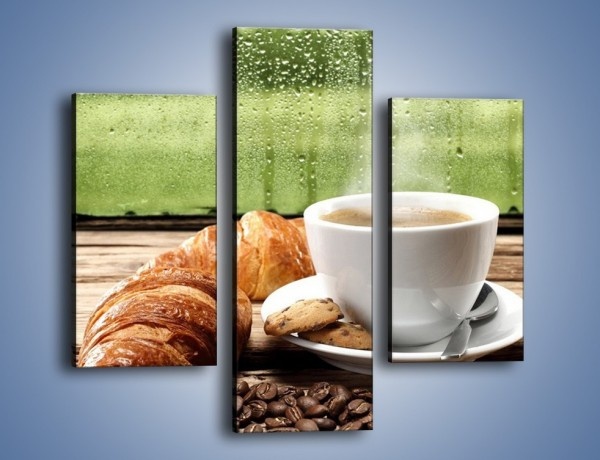Obraz na płótnie – Deszczowy dzień z gorącą kawą – trzyczęściowy JN474W3