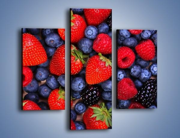 Obraz na płótnie – Owoce leśne na stole – trzyczęściowy JN505W3