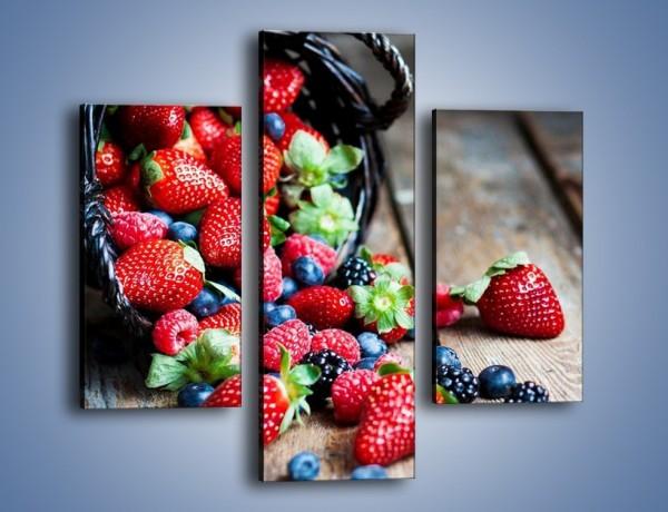 Obraz na płótnie – Kosz pełen owoców leśnych – trzyczęściowy JN506W3