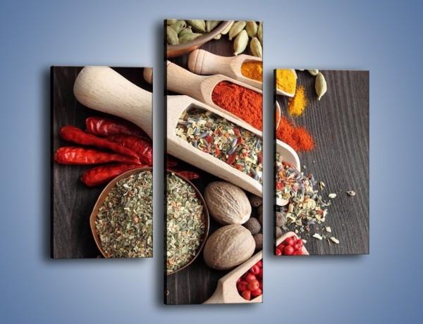 Obraz na płótnie – Dodatki do kuchni w miarkach – trzyczęściowy JN527W3
