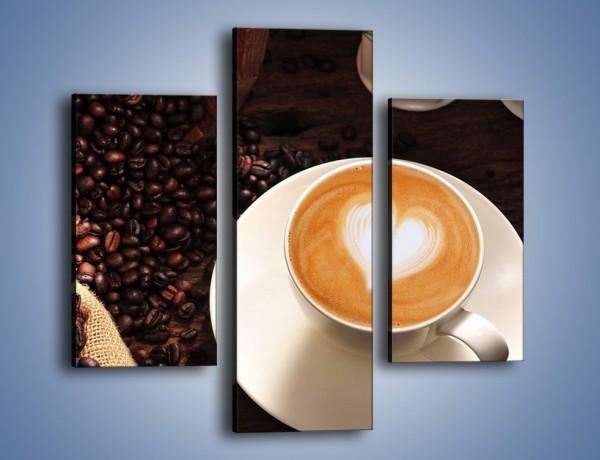 Obraz na płótnie – Kawa z białym sercem – trzyczęściowy JN546W3